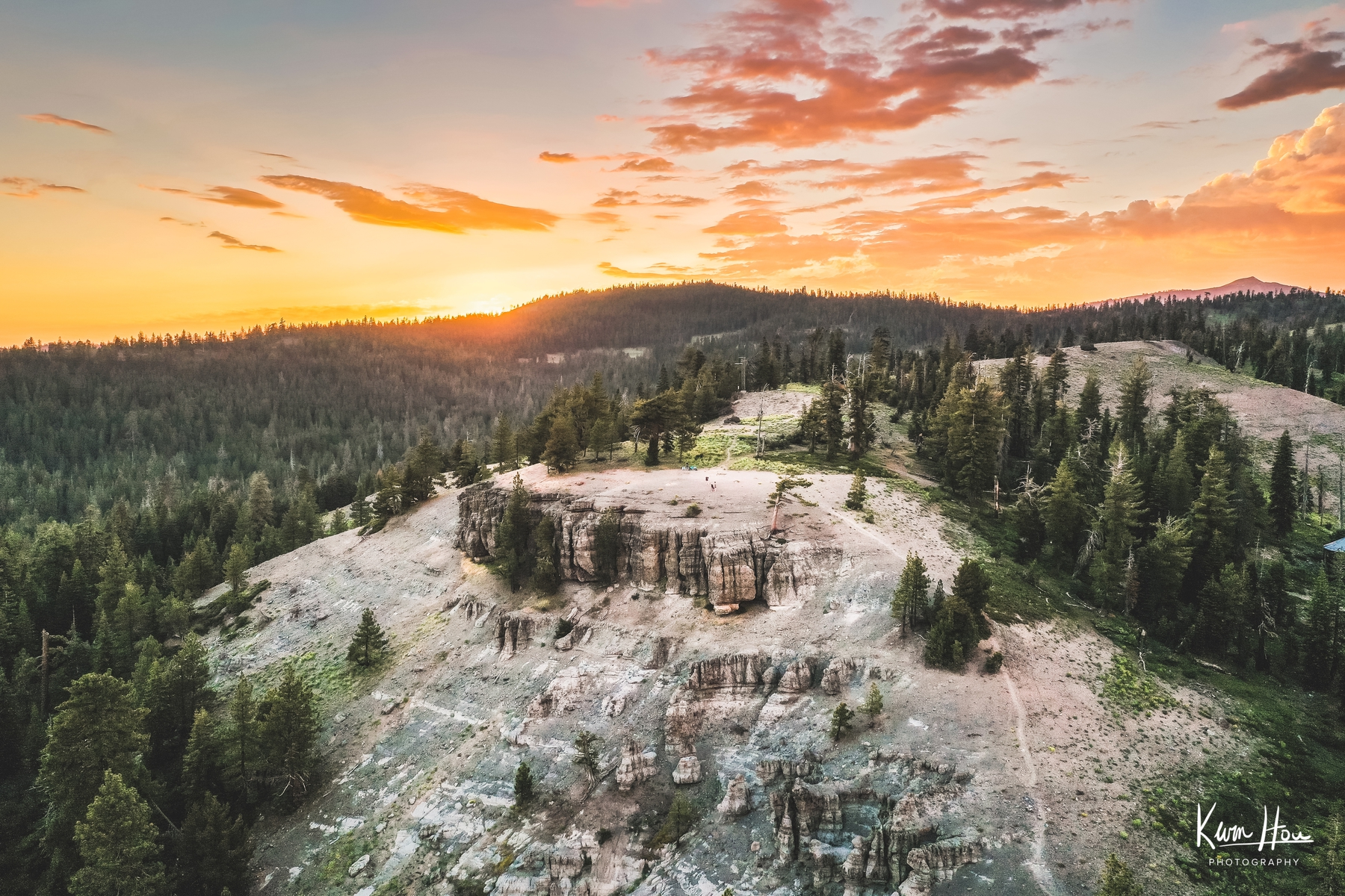 Bear Valley Bloods Ridge Sunset Drone Landscape Orange Panorama