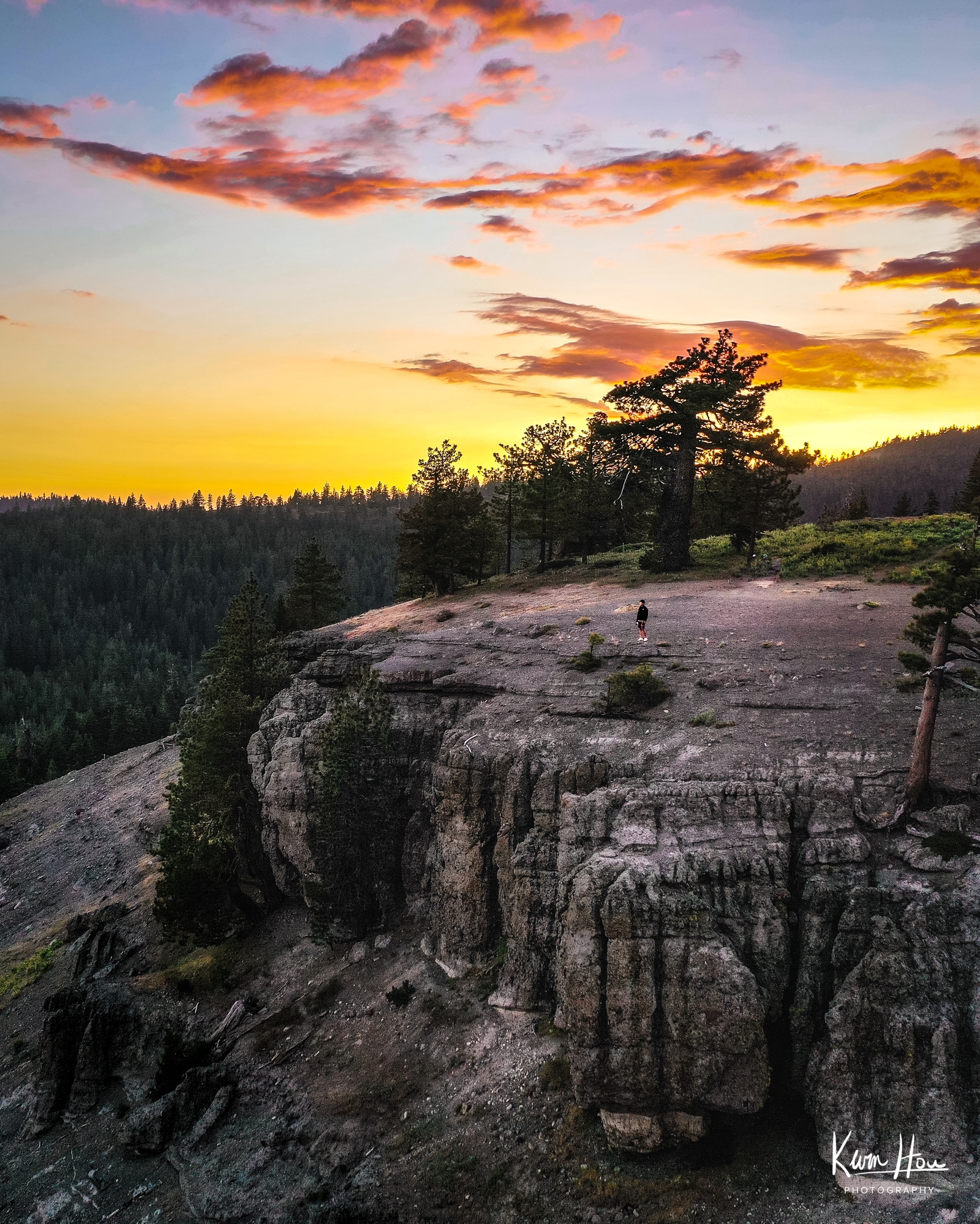 Bear Valley Bloods Ridge Sunset Drone Vertical Dark