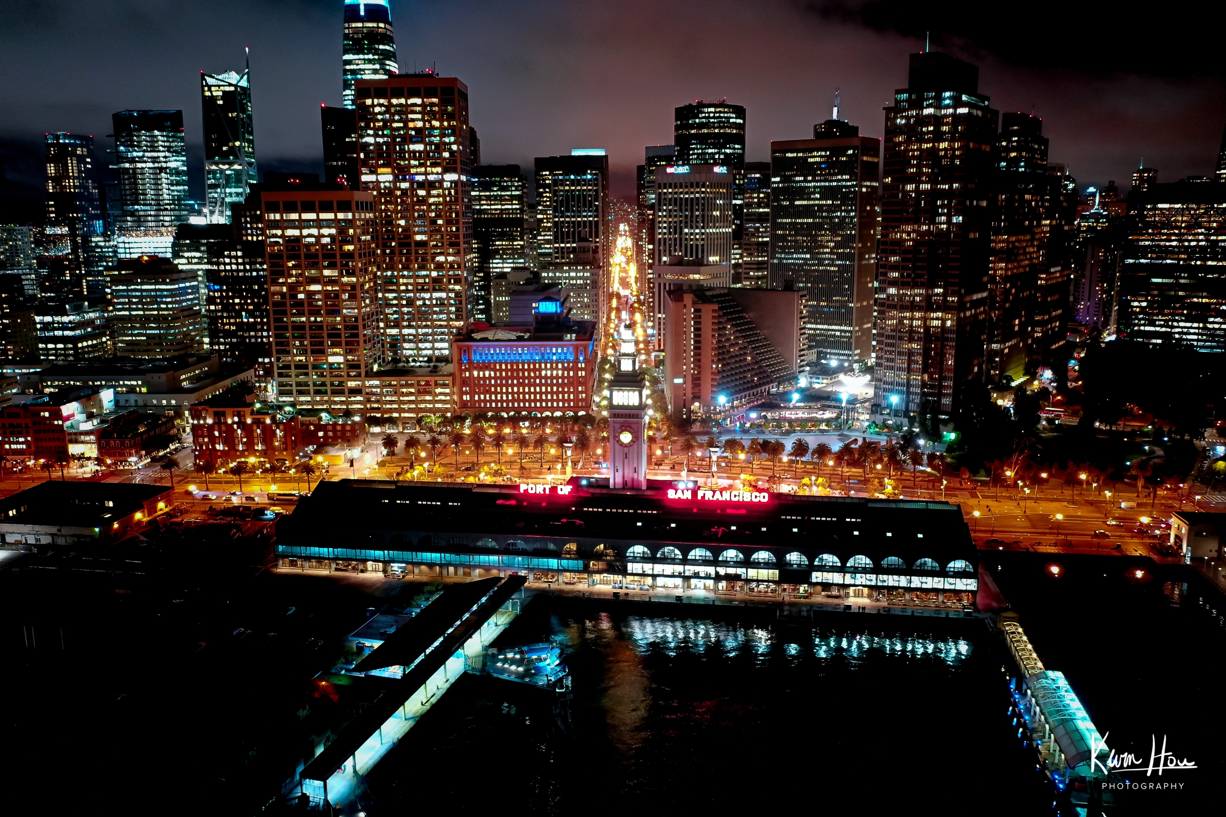 Embarcadero Drone Ferry Building Night Horizontal