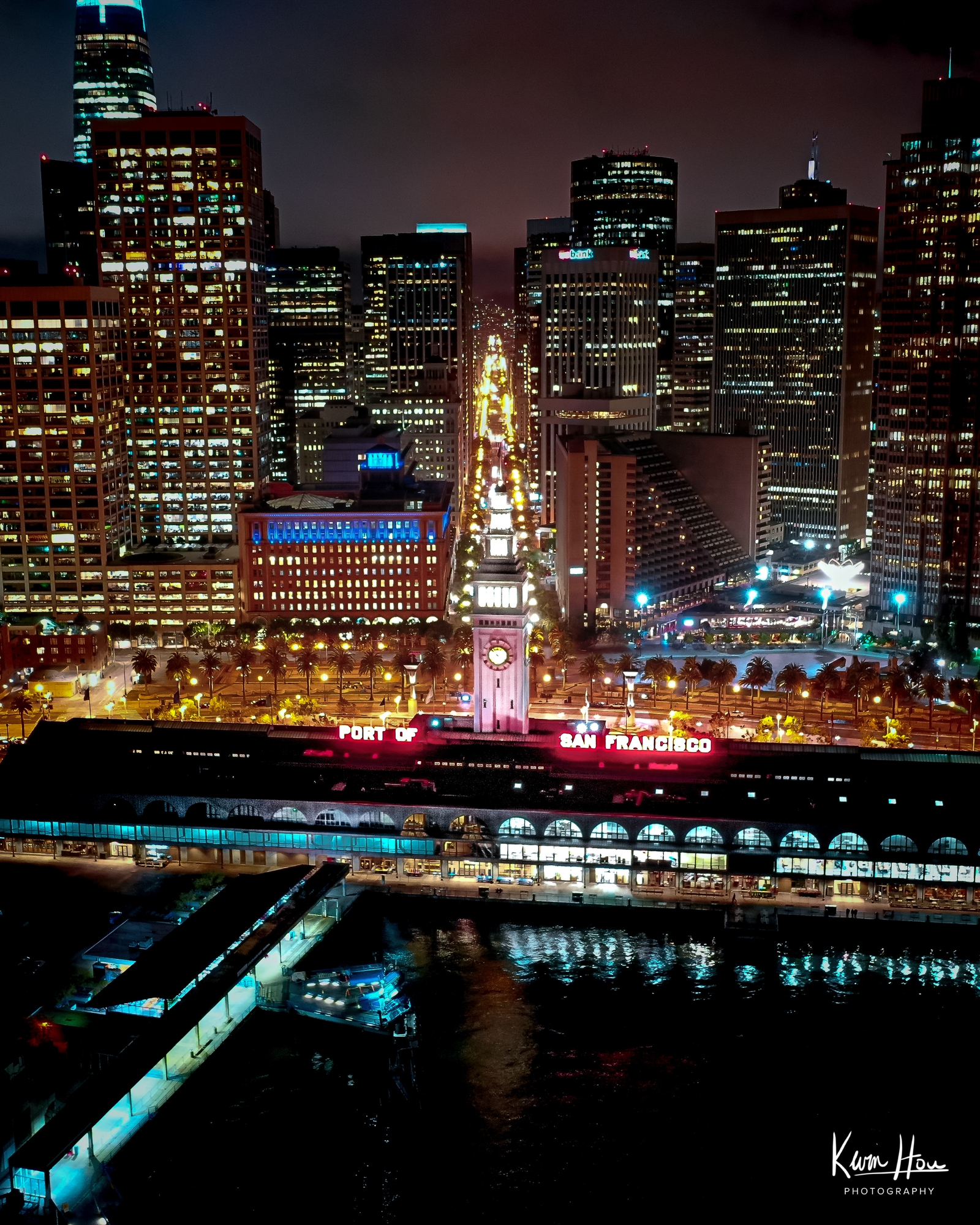 Embarcadero Drone Ferry Building Night Vertical