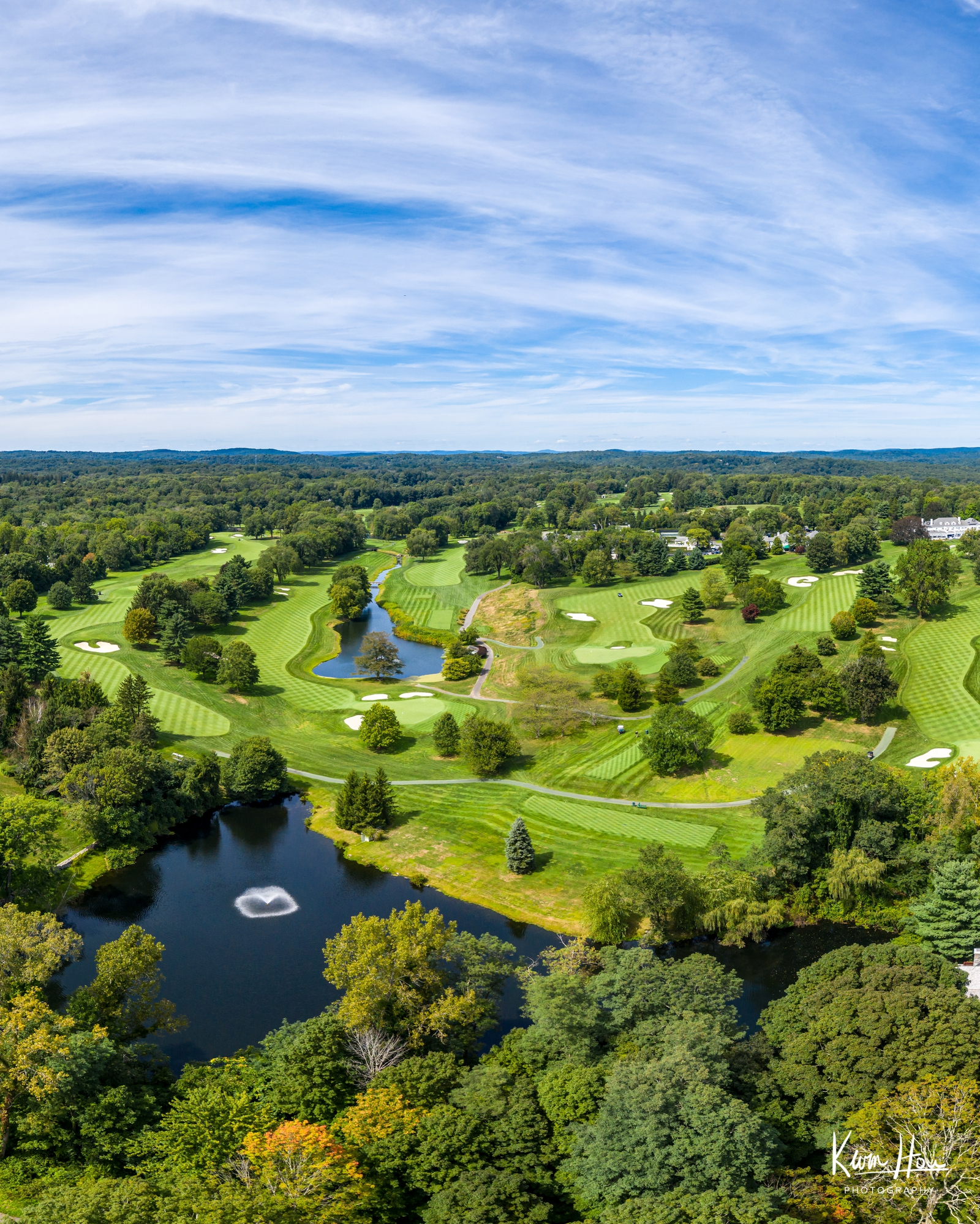 Greenwich Golf Course Summer Drone Vertical