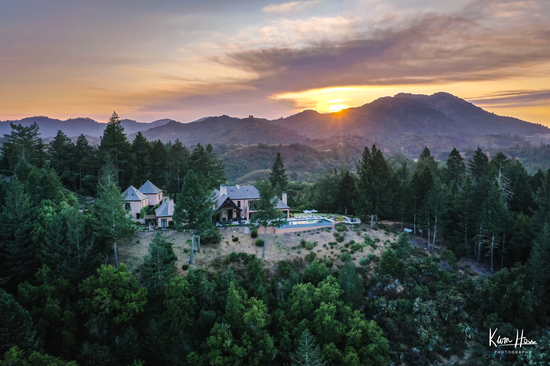 Napa Valley Drone Landscape Sunset House