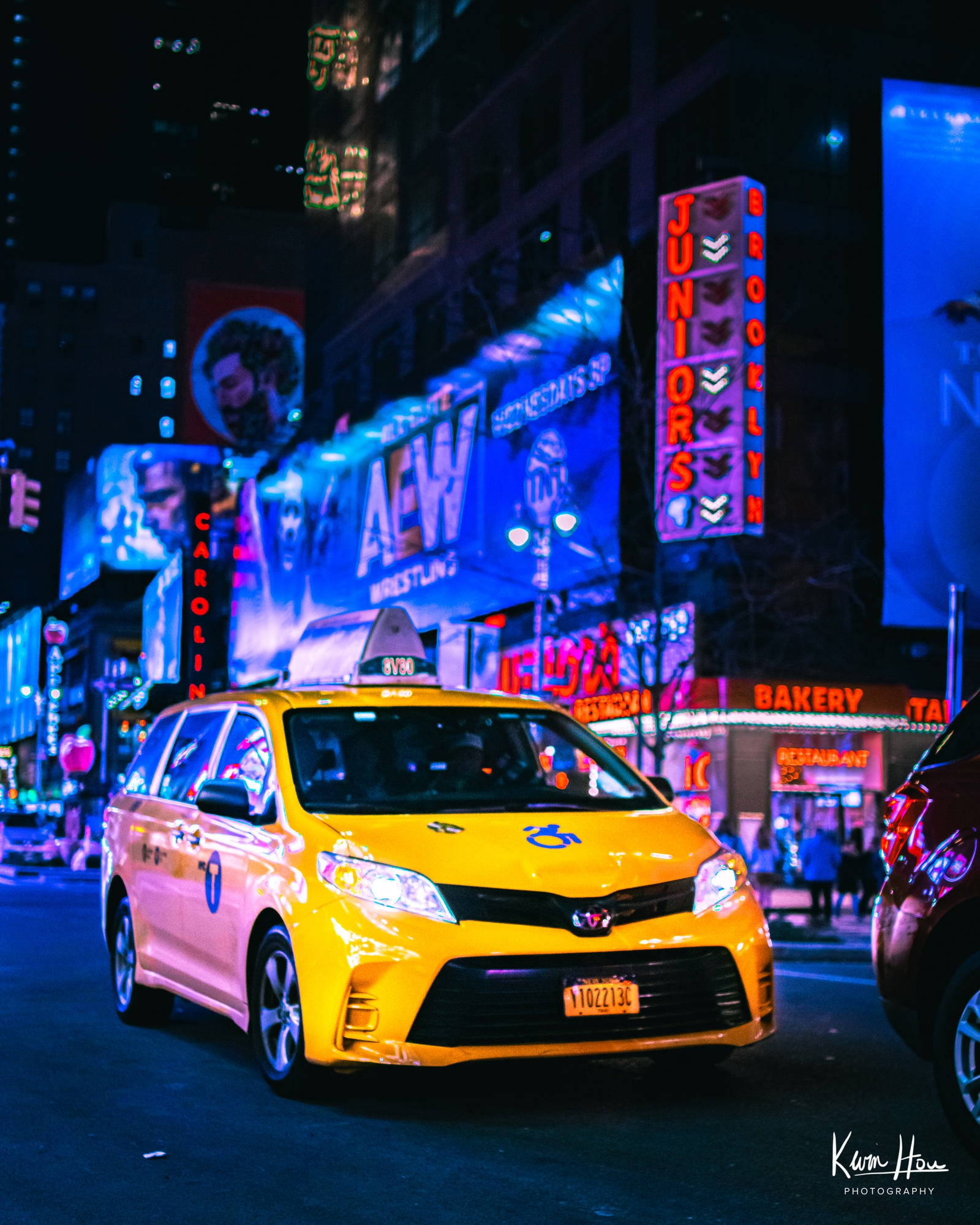 New York Times Square Taxi Car Neon Cyberpunk