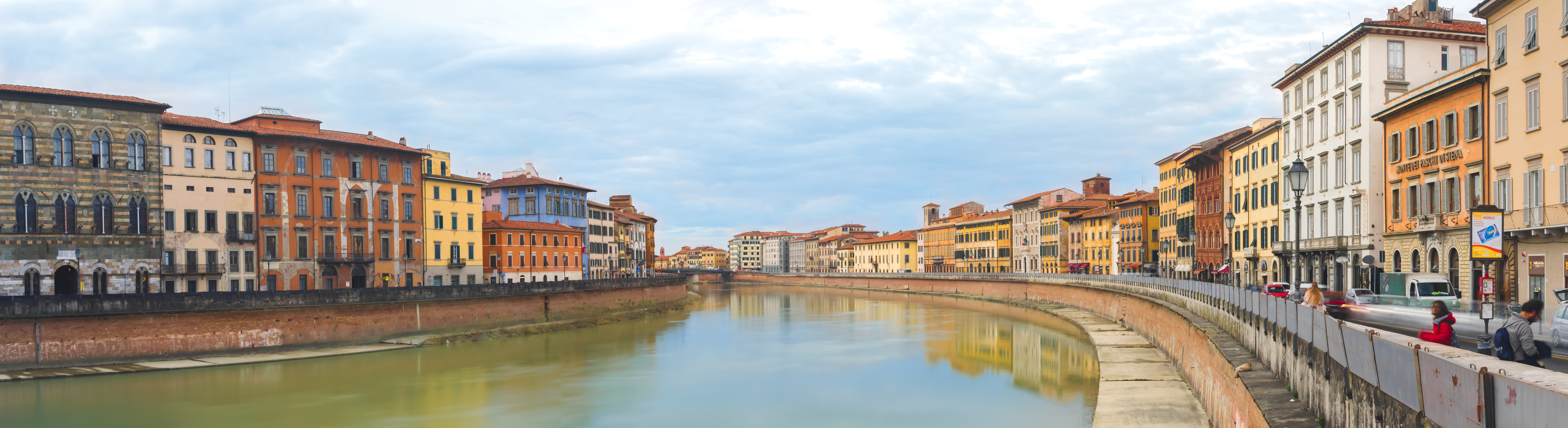 Panorama of Arno River in Pisa, Italy