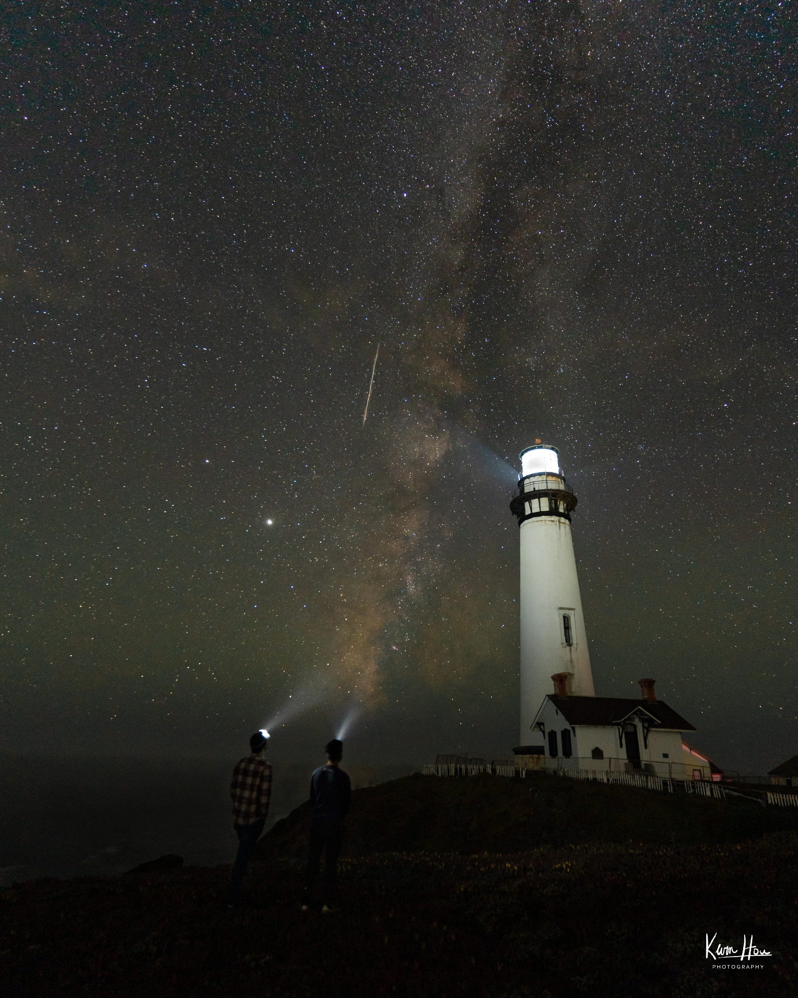 Pigeon Point Lighthouse Milky Way with Meteor
