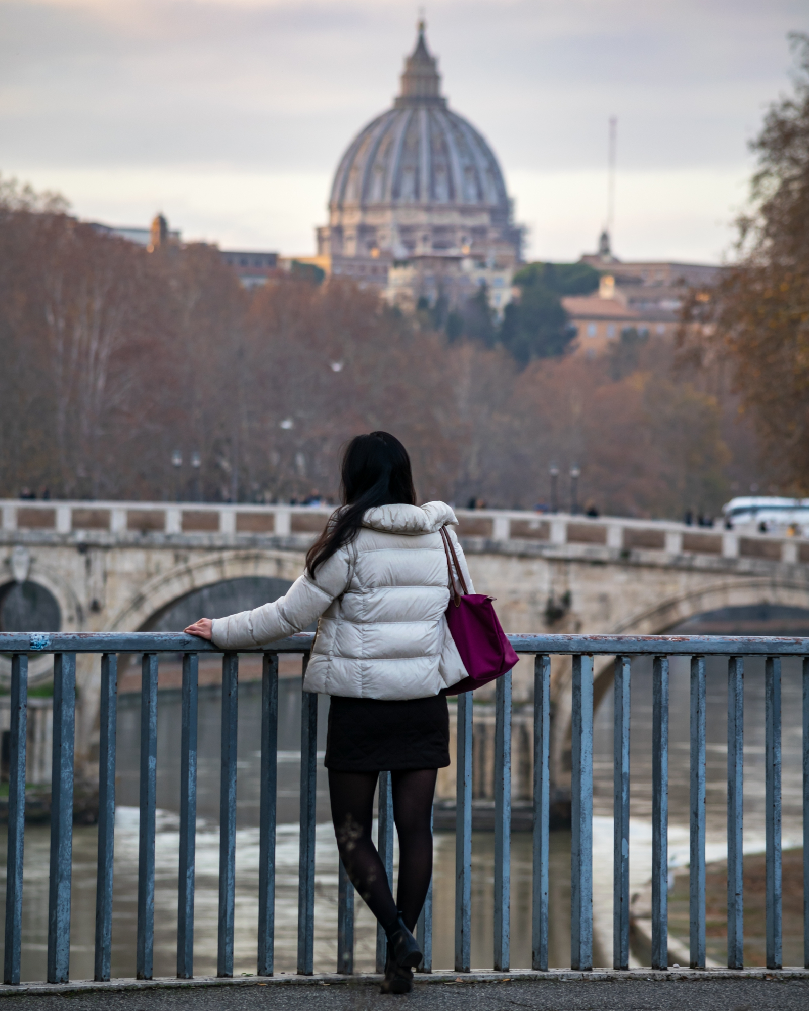 Portrait in Front of Vatican on Bridge at Sunset