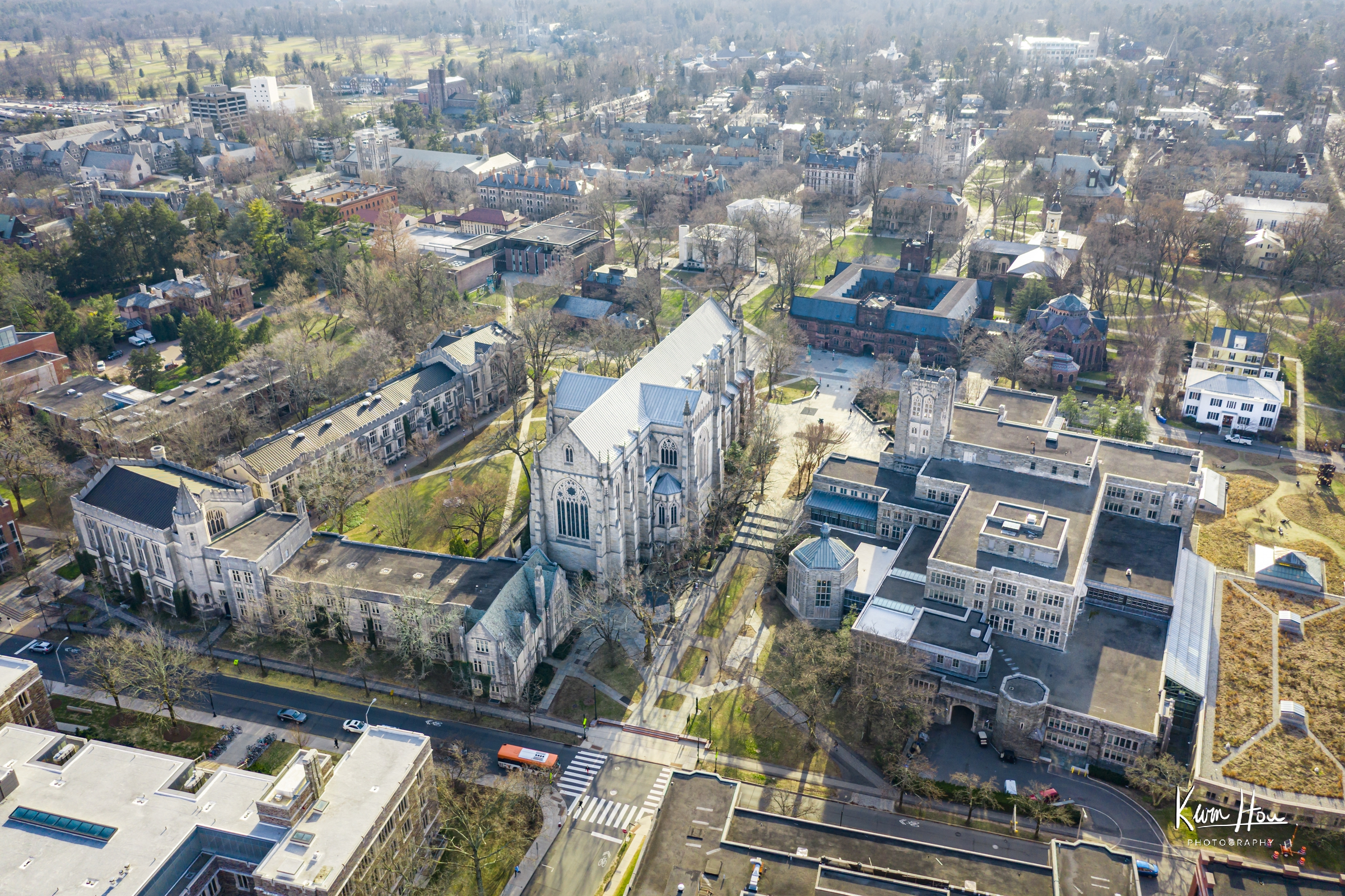 Princeton University Chapel and Surrounding Campus by Drone
