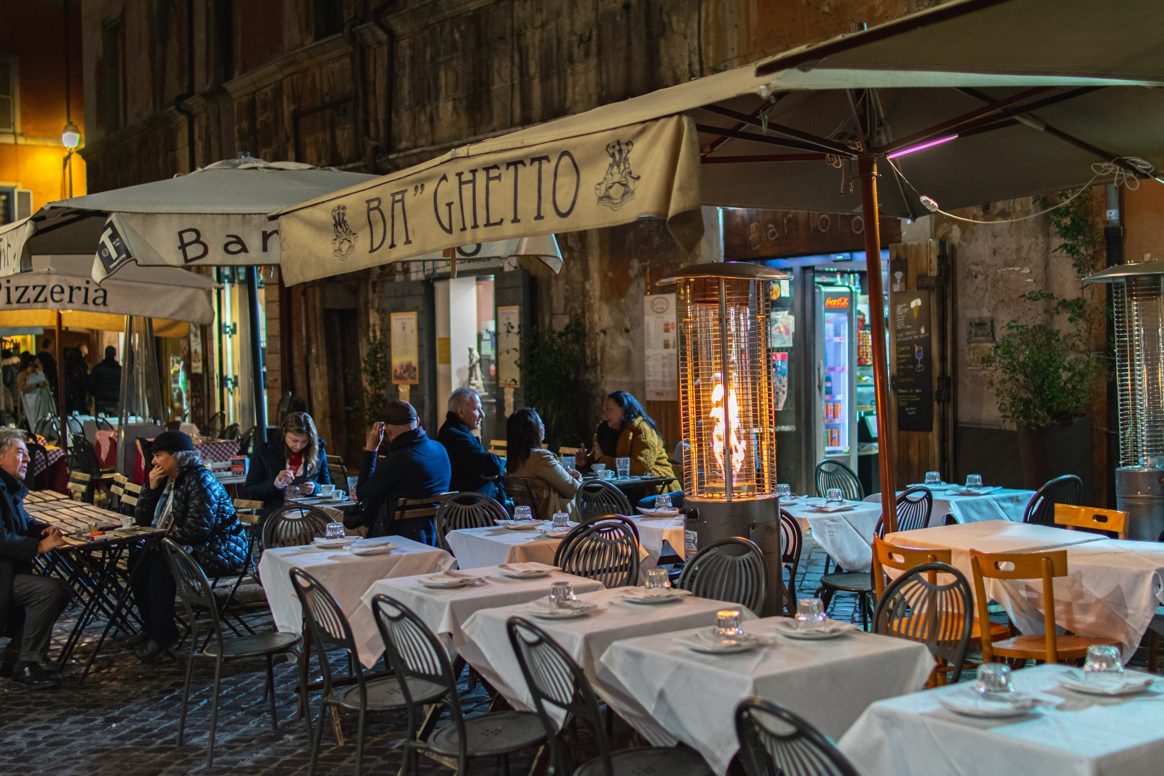 Restaurant at Night in Rome, Italy
