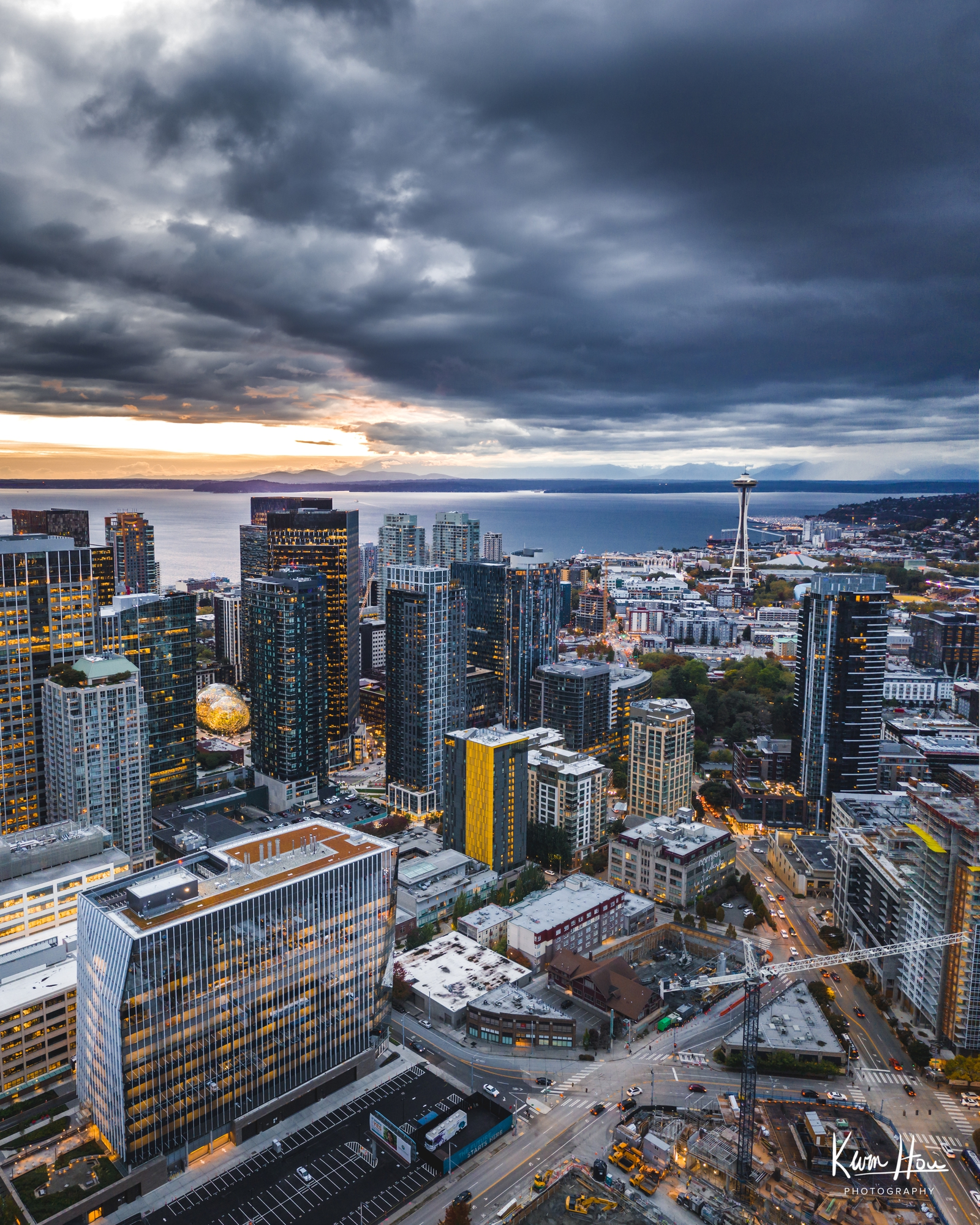 Seattle Vertical Drone Space Needle Sunset