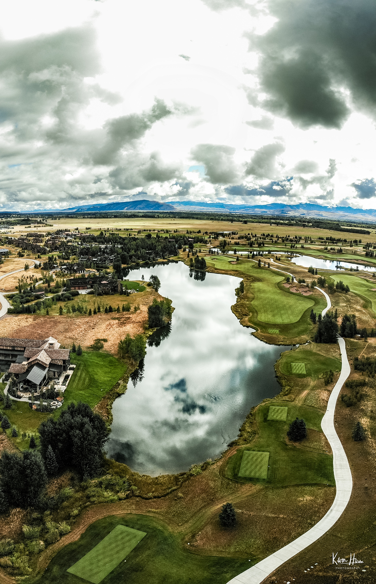 Teton Village Golf Course Lake Drone Vertical