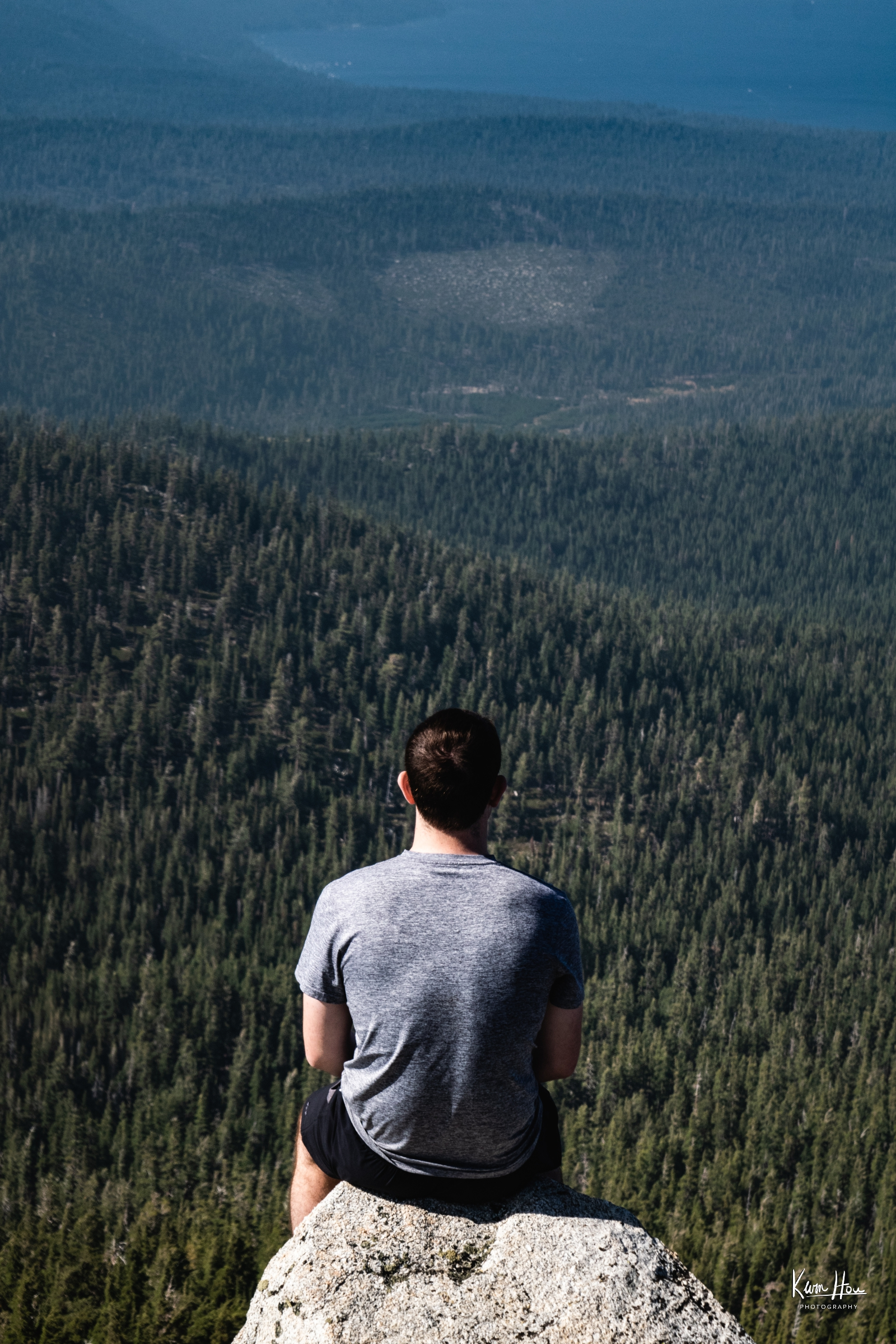 Trevor Sitting on Rubicon Peak Looking Out
